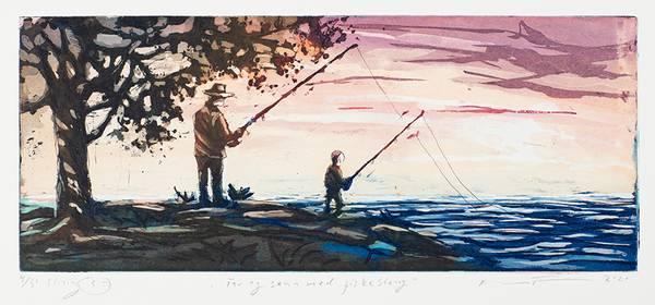 Bilde av Kristian Finborud - Far og sønn med fiskestang